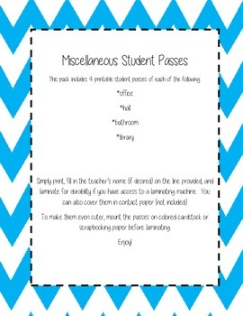 Printable Student Passes - Hall Pass, Office Pass, Library