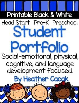 student portfolio printable template for preschool pre k head start