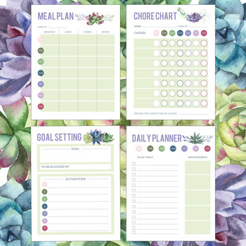 Printable, Succulent Themed Chore Chart, Meal / Daily / Goal Planner