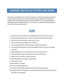 Printable Summer Fine & Gross Motor Activities for Home