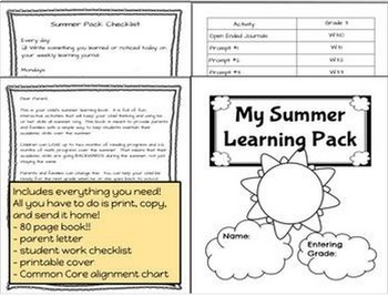 Summer Review Packet NO PREP for Third Grade