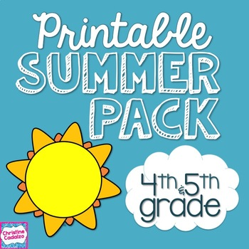 Summer Review Packet NO PREP for Fourth/ Fifth Grade