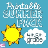 Summer Review Packet NO PREP for Fourth/ Fifth Grade | Dis