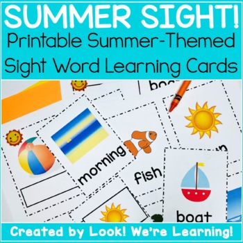 Noun Dolch Sight Word Flashcards - Summer Themed!