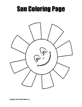 Printable Sun Coloring Page Worksheet