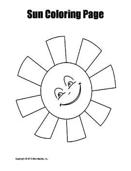 Printable Sun Coloring Page Worksheet