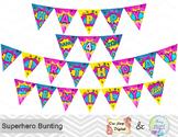Printable Superhero Banner, Superhero Birthday Party Banner, Superhero Bunting