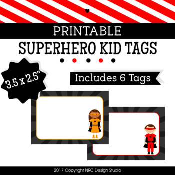Printable Tags, Superhero Kids, Labels, Name Tags - Classroom Decoration