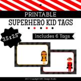 Printable Tags, Superhero Kids, Labels, Name Tags - Classroom Decoration