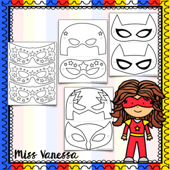 Printable Superhero Masks for Dramatic Play,  Color + B&W Versions Included