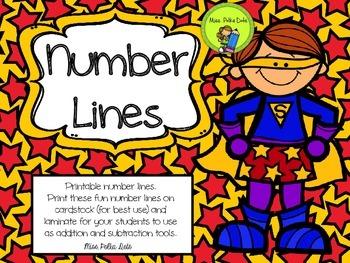 Printable Superhero Number Lines