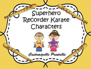Printable Superhero Recorder Characters