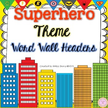 Word Wall Headers Superhero Theme