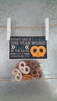Printable TEACHER Pretzel Gift Bag Tag Label