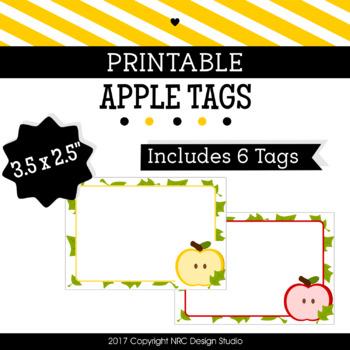 Printable Tags, Apple Printable, Labels, Name Tags - Classroom Decoration