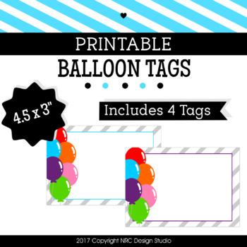 Printable Tags, Balloon Printable, Labels, Name Tags - Classroom Decoration