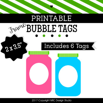 Printable Tags, Bubble Printable, Labels, Name Tags - Classroom Decoration