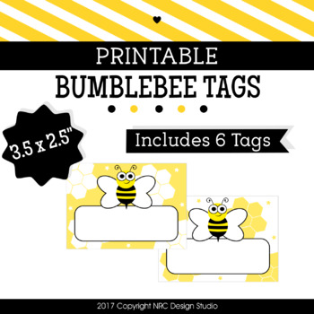 Printable Tags, Bumblebee Printable, Labels, Name - Classroom Decoration