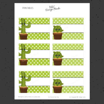 Printable Tags, Cactus Printable, Labels, Name - Classroom Decoration