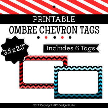 Printable Tags, Chevron Printable, Labels, Name, Ombre - Classroom Decoration
