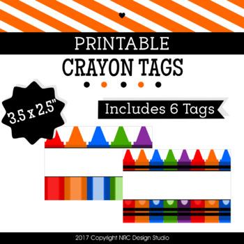 Printable Tags, Crayon Printable, Labels, Name - Classroom Decoration