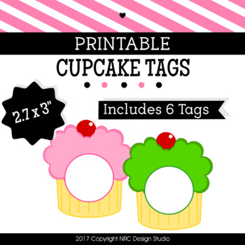 Printable Tags, Cupcake Printable, Labels, Name - Classroom Decoration