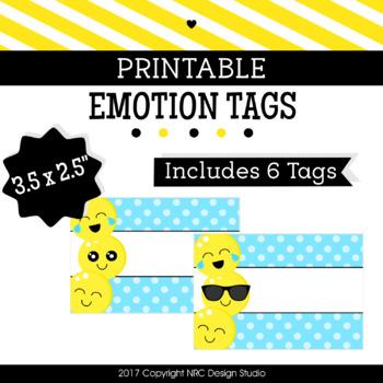 Printable Tags, Emotion Printable, Labels, Name - Classroom Decoration