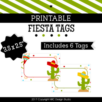 Printable Tags, Fiesta Printable, Labels, Name - Classroom Decoration