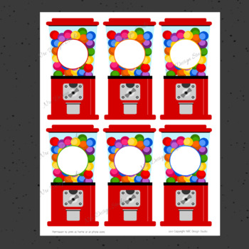 Printable Tags, Gumball Machine Printable, Labels, Name - Classroom Decoration