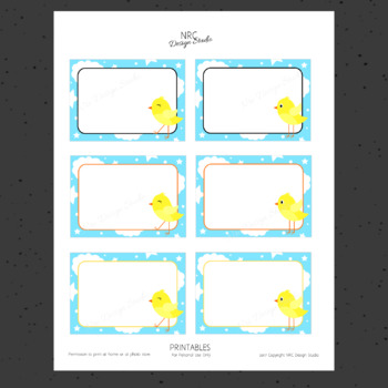 Printable Tags, Little Bird Printable, Labels, Name - Classroom Decoration