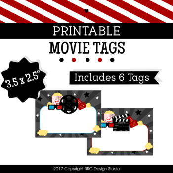 Printable Tags, Movie Printable, Labels, Name - Classroom Decoration
