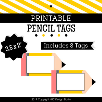 Printable Tags, Pencil Printable, Labels, Bulletin Board - Classroom Decoration