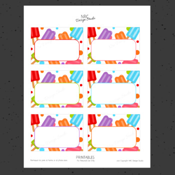 Printable Tags, Popsicle Printable, Labels, Name - Classroom Decoration