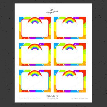 Printable Tags, Rainbow Printable, Labels, Name - Classroom Decoration