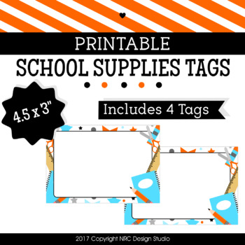 Printable Tags, School Printable, Labels, Name Tags - Classroom Decoration