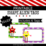 Printable Tags, Shape Alien Printable, Labels, Name - Classroom Decoration