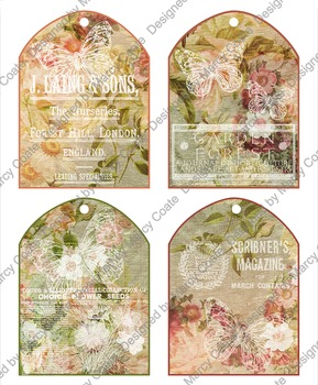 Printable Tags: set of 4 arched floral burlap collage tags