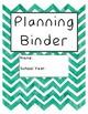 Printable Teacher Planner Binder Pages -  Teal Chevron