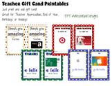 Printable Teacher Gift Card Templates – cute way to presen