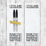 """Printable Teacher Gift Tag Label Sharpie Marker """"You are Remarker-able"""""""