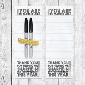"Printable Teacher Gift Tag Label Sharpie Marker ""You are Remarker-able"""