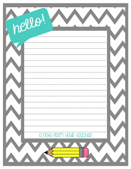 image regarding Printable Note identified as Printable Instructor Be aware Paper and Stationery - Customizable