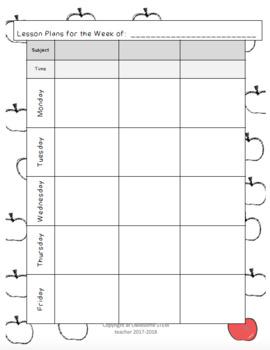 Printable Teacher Planner Binder Pages - Apples