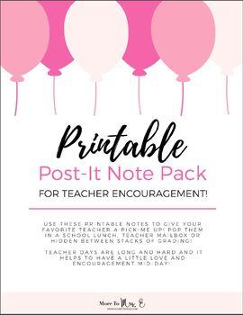 Printable Teacher Post-It Lunch Box Encouragement Notes
