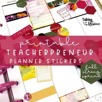 Printable Teacherpreneur or Seller Planner Stickers Fall Strong Colors Spread