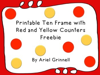 Printable Ten Frame with Red and Yellow Counters