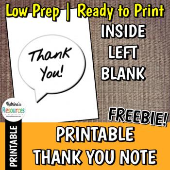 Printable Thank You Card Template *FREEBIE*