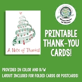 Printable Thank You Note ~ Note of Thanks ~ Christmas Music Thank You Note