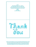 Printable Thank you note card with aqua blue fabric font l