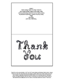 Printable Thank you note card with black fabric font lette